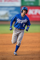 Austin Bailey (7) of the Burlington Royals rounds the bases after hitting a home run against the Bristol Pirates at Boyce Cox Field on July 10, 2015 in Bristol, Virginia.  The Pirates defeated the Royals 9-4. (Brian Westerholt/Four Seam Images)