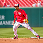 22 May 2015: Washington Nationals infielder Wilmer Difo takes infield warm-up drills prior to a game against the Philadelphia Phillies at Nationals Park in Washington, DC. The Nationals defeated the Phillies 2-1 in the first game of their 3-game weekend series. Mandatory Credit: Ed Wolfstein Photo *** RAW (NEF) Image File Available ***