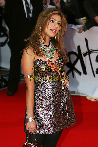 GABRIELLE CILMI.Arrivals - 2009 Brit Awards, Earls Court, London, England, .February 18th 2009.brits half length necklaces coloured beads necklace strapless bustier silver arm bracelet hand on hip dress .CAP/MAR.© Martin Harris/Capital Pictures.