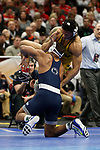 CLEVELAND, OH - MARCH 16: Daniel Lewis, of Missouri, wrestles Mark Hall, of Penn State, in the 174 weight class during the Division I Men's Wrestling Championship held at Quicken Loans Arena on March 16, 2018 in Cleveland, Ohio. (Photo by Jay LaPrete/NCAA Photos via Getty Images)
