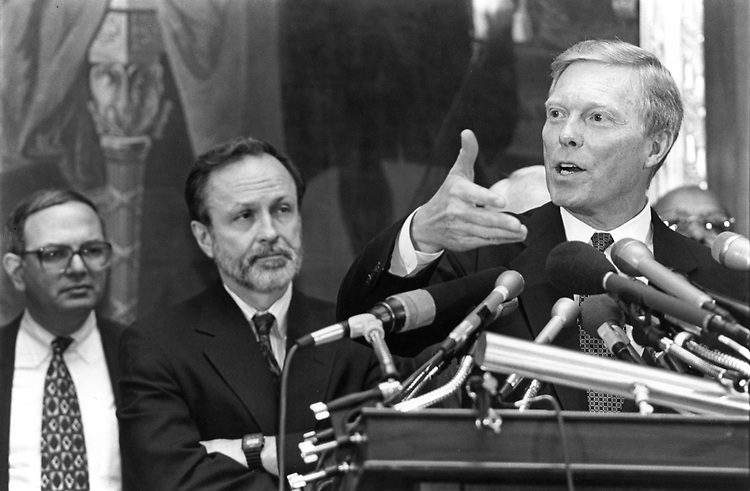 Martin Frost, David Bonior and Richard Gephardt after the House 1994 House democratic elections.