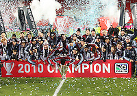 The Colorado Rapids celebrate their 2-1 victory over FC Dallas in the MLS Cup 2010 at BMO Stadium in Toronto, Ontario on November 21 2010.
