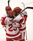 Sammy Davis (BU - 16), Samantha Sutherland (BU - 20), Nina Rodgers (BU - 23) - The Boston College Eagles defeated the Boston University Terriers 3-2 in the first round of the Beanpot on Monday, January 31, 2017, at Matthews Arena in Boston, Massachusetts.