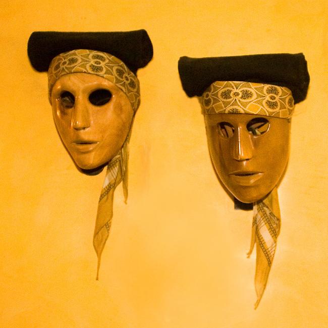 Masks, Sardegna Restaurant, Paris, France, Europe