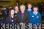 Seventeen schools from Kerry and Cork took part in Ceiluradh na nOg, in the Brandon Conference Centre yesterday (Wednesday). Pictured were: Katie Sugrue, Clodagh Collins, Bishop Bill Murphy, Niall Collins and Danny Quilter