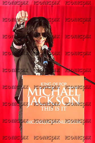 MICHEL JACKSON -  at his final press conference  to announce the This Is It residency of 10 concerts at the O2 Arena in London which was later extended to 50 sell out concerts.  He died on June 25,2009 at his home in Los Angeles. Photographed in London - 05 Mar 2009 - Photo by: Zaine Lewis/IconicPix