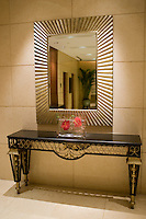 Mirror and console table in the hallway of the Beijing Hotel, official host hotel for Beijing Olympic Games, China