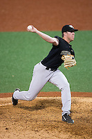 Wake Forest Demon Deacons relief pitcher Chris Farish (32) in action against the Charlotte 49ers at Hayes Stadium on March 16, 2016 in Charlotte, North Carolina.  The 49ers defeated the Demon Deacons 7-6.  (Brian Westerholt/Four Seam Images)