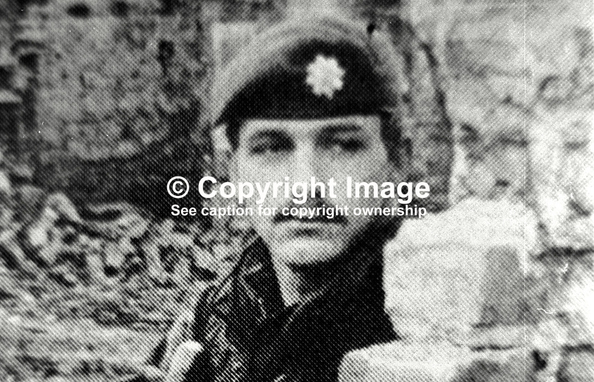 Guardsman Alan Daughtery, from Durham, married with 2 children, shot dead by Provisional IRA sniper whilst travelling in a military vehicle in Beechmount Avenue, Falls Road, Belfast, N Ireland, 31st December 1973. 197312310783AD.<br />