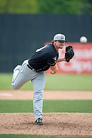 Lansing Lugnuts relief pitcher Jackson McClelland (40) delivers a pitch during a game against the Clinton LumberKings on May 9, 2017 at Ashford University Field in Clinton, Iowa.  Lansing defeated Clinton 11-6.  (Mike Janes/Four Seam Images)