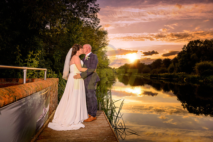 Bride and Groom on the Great River Ouse at Sunset