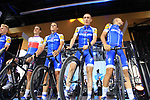 Quick-Step Floors team on stage at the Team Presentation in Burgplatz Dusseldorf before the 104th edition of the Tour de France 2017, Dusseldorf, Germany. 29th June 2017.<br /> Picture: Eoin Clarke | Cyclefile<br /> <br /> <br /> All photos usage must carry mandatory copyright credit (&copy; Cyclefile | Eoin Clarke)