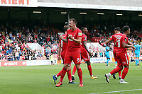 O's Josh Coulson celebrates after scoring the opener during Leyton Orient vs Barnet, Vanarama National League Football at The Breyer Group Stadium on 15th September 2018