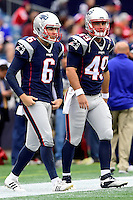 Sunday, October 2, 2016: New England Patriots punter Ryan Allen (6) and long snapper Joe Cardona (49) prepare for the NFL game between the Buffalo Bills and the New England Patriots held at Gillette Stadium in Foxborough Massachusetts. Buffalo defeats New England 16-0. Eric Canha/Cal Sport Media