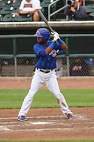 Iowa Cubs second baseman Arismendy Alcantara (3) at bat during a Pacific Coast League game against the Colorado Springs Sky Sox on May 10th, 2015 at Principal Park in Des Moines, Iowa.  Iowa defeated Colorado Springs 14-2.  (Brad Krause/Four Seam Images)