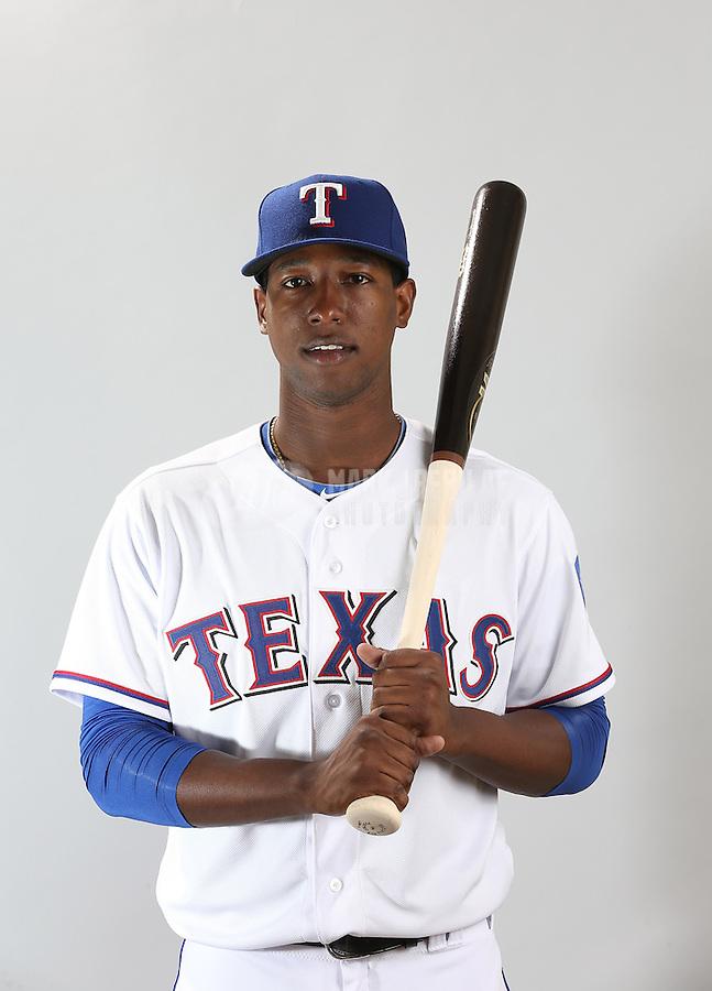Feb. 20, 2013; Surprise, AZ, USA: Texas Rangers shortstop Jurickson Profar poses for a portrait during photo day at Surprise Stadium. Mandatory Credit: Mark J. Rebilas-
