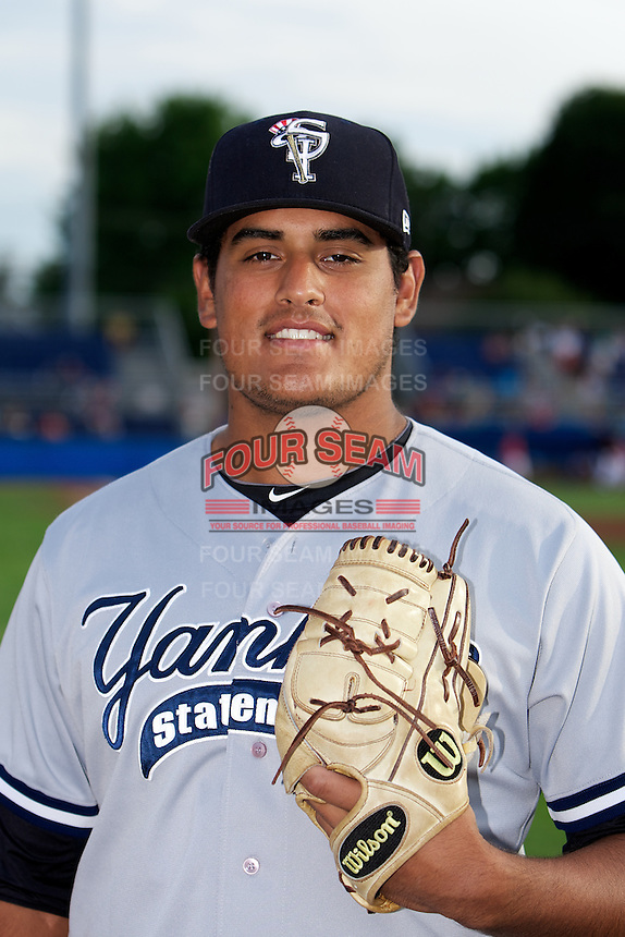 Staten Island Yankees James Pazos #35 poses for a photo before a game against the Batavia Muckdogs at Dwyer Stadium on July 28, 2012 in Batavia, New York.  Batavia defeated Staten Island 2-1.  (Mike Janes/Four Seam Images)