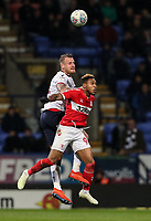 Bolton Wanderers' David Wheater competing with Middlesbrough's Britt Assombalonga <br /> <br /> Photographer Andrew Kearns/CameraSport<br /> <br /> The EFL Sky Bet Championship - Bolton Wanderers v Middlesbrough -Tuesday 9th April 2019 - University of Bolton Stadium - Bolton<br /> <br /> World Copyright © 2019 CameraSport. All rights reserved. 43 Linden Ave. Countesthorpe. Leicester. England. LE8 5PG - Tel: +44 (0) 116 277 4147 - admin@camerasport.com - www.camerasport.com