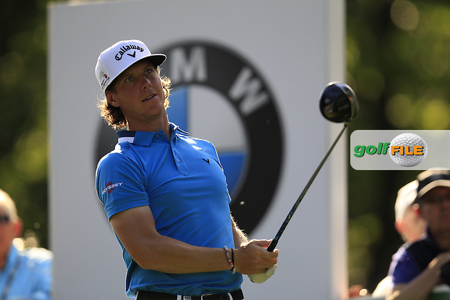 Kristoffer Broberg (SWE) on the 17th during  round 1 of the 2016 BMW PGA Championship. Wentworth Golf Club, Virginia Water, Surrey, UK. 26/05/2016.<br /> Picture Fran Caffrey / Golffile.ie
