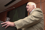 Bob Greene speaking at Celebration of 35th Anniversary of Newsday Investigations Team held in Newsday Auditorium in Melville on Thursday September 26, 2002. (Newsday photo by Jim Peppler).