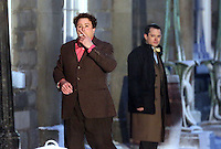 Pictured L-R: Celyn Jones and Elijah Wood rehearsing a scene. Tuesday 11 February 2014<br />