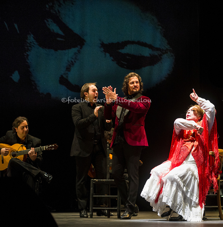 London, UK. 21.02.2018. Legendary flamenco artist La Chana makes a rare appearance at this year's Gala Flamenca with guest artists: Ángel Rojas, Antonio Canales, El Farru, Gema Moneo, 21-23 Feb 2018. Photo shows: El Farru, La Chana. Photo - © Foteini Christofilopoulou.