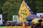 A wet day for the fans during Stage 1, a 14km individual time trial around Dusseldorf, of the 104th edition of the Tour de France 2017, Dusseldorf, Germany. 1st July 2017.<br /> Picture: Eoin Clarke | Cyclefile<br /> <br /> <br /> All photos usage must carry mandatory copyright credit (&copy; Cyclefile | Eoin Clarke)