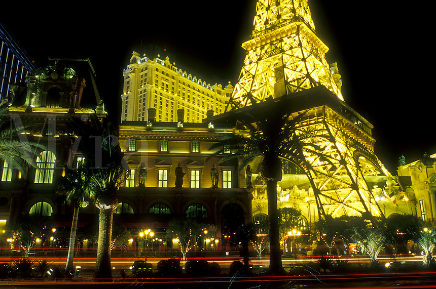 Las Vegas, Nevada, Paris Casino & Resort, NV, Replica of the Eiffel Tower and other landmarks at Paris Las Vegas Resort & Casino on The Strip at night in Las Vegas, the Entertainment Capital of the World.