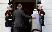 United States President Barack Obama welcomes His Highness Sheikh Sabah Al-Ahmed Al-Jaber Al-Sabah, Amir of the State of Kuwait on the South Lawn of the White House May 13, 2015 in Washington, DC. President Obama hosts leaders and delegations from the Gulf Cooperation Council for dinner in the Blue Room. <br /> Credit: Olivier Douliery / Pool via CNP