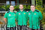 Kerry Kennedy Cup management team, Joe Riley Coach, Tom Kelly, Coach and Ken Robinson, Head Coach at the media night in the Rose Hotel on Monday