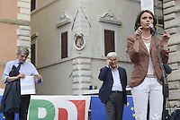 Roma, 27 Maggio 2014<br /> Piazza Farnese<br /> Festa del Pd con le elette e gli eletti alle elezioni Europee.<br /> Nella foto Simona Bonafè la candidata che eletta con il maggior numero di preferenze.<br /> Event of Democratic Party after the European elections.