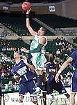 North Texas Mean Green forward Kedrick Hogans (24) drives around Jackson State Tiger guard Cason Burke (1) for a lay up in the game between the Jackson State Tigers and the University of North Texas Mean Green at the North Texas Coliseum,the Super Pit, in Denton, Texas. UNT defeated Jackson 68 to 49
