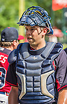 21 March 2015: Atlanta Braves catcher Steven Rodriguez returns to the dugout after a Split Squad Spring Training game against the Washington Nationals at Champion Stadium at the ESPN Wide World of Sports Complex in Kissimmee, Florida. The Braves defeated the Nationals 5-2 in Grapefruit League play. Mandatory Credit: Ed Wolfstein Photo *** RAW (NEF) Image File Available ***