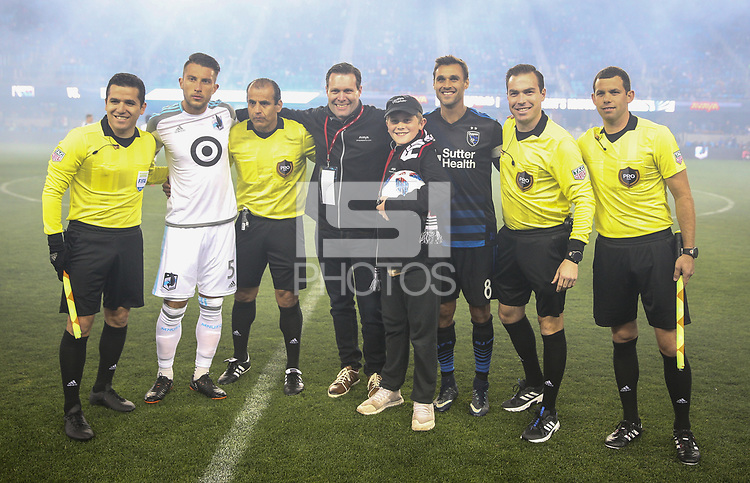San Jose, CA - Saturday March 03, 2018: San Jose Earthquakes during a 2018 Major League Soccer (MLS) match between the San Jose Earthquakes and Minnesota United FC at Avaya Stadium.