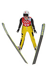 Bigna Windmueller of Switzerland jumps during the Women's Normal Hill Individual training session of the 2014 Sochi Olympic Winter Games at Russki Gorki Ski Juming Center on February 9, 2014 in Sochi, Russia. Photo by Victor Fraile / Power Sport Images