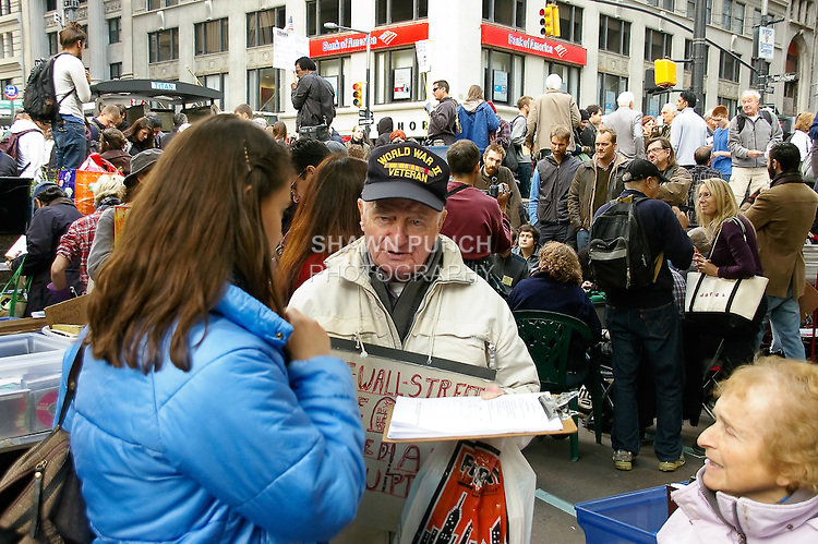 World War II Veteran protests at the Occupy Wall Street protest encampment at Zuccotti Park, in Lower Manhattan, October 22, 2001.