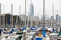 The San Francisco skyline provides the backdrop for sailboats in the South Beach Harbor.