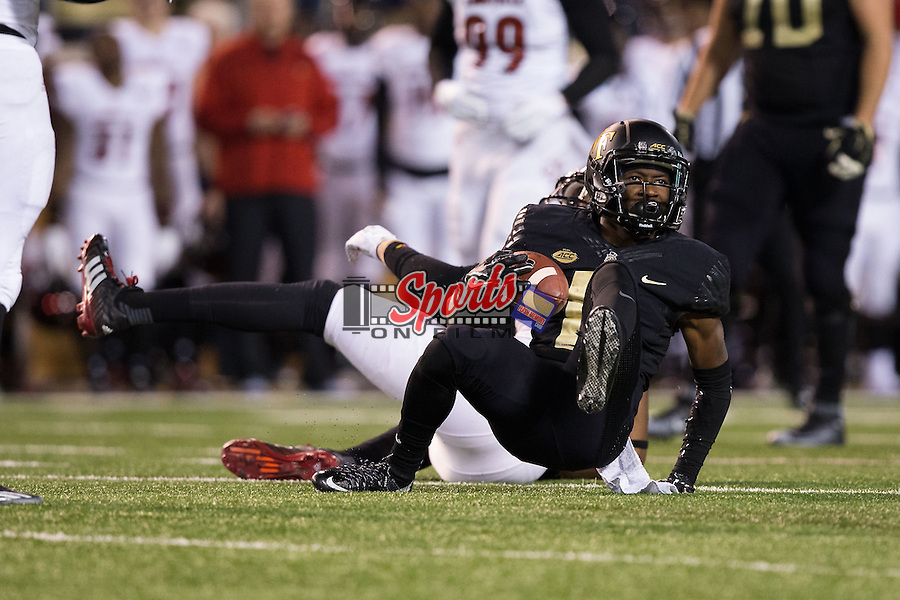 Tabari Hines (6) of the Wake Forest Demon Deacons makes a catch for a first down late in the fourth quarter of play against the Louisville Cardinals at BB&T Field on October 30, 2015 in Winston-Salem, North Carolina.  The Cardinals defeated the Demon Deacons 20-19.  (Brian Westerholt/Sports On Film)