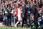 Nederland, AMsterdam, 1 April 2012.Eredivisie.Seizoen 2011-2012.Ajax-Heracles.Aras Ozbiliz van Ajax valt uit met een blessure