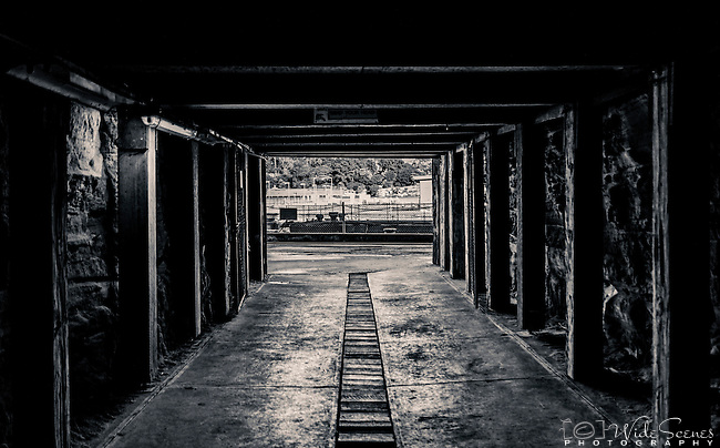 Cockatoo Island, Sydney, NSW, Australia.  One of the tunnels originally built to move workers and materials from one side of the island to the other.