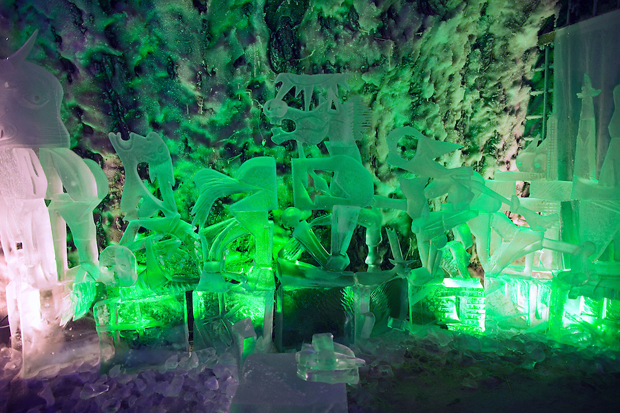 """Yakutsk, Yakutia, Russia, 19/08/2011..An ice sculpture of Picasso's """"Guernica"""" inside the Permafrost Kingdom, an underground tourist attraction inspired by the extreme cold of Yakutia. The 150 metre deep complex of tunnels in the Russian permafrost are decorated with ice sculptures, a wolf-fur covered throne, an office complete with the coolest computer and telephone, a children's slide and other ingenious creations - all hewn from blocks of ice."""
