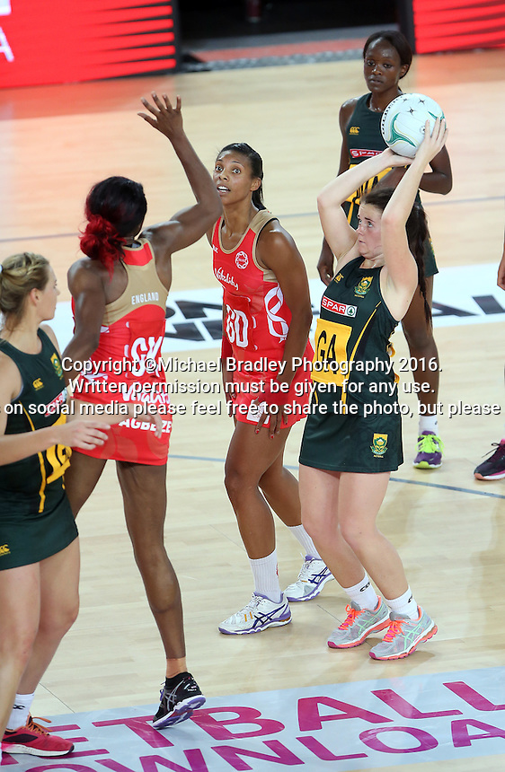 04.09.2016 South Africa's Renske Stolz in action during the Netball Quad Series match between England and South Africa played at Margaret Court Arena in Melbourne. Mandatory Photo Credit ©Michael Bradley.