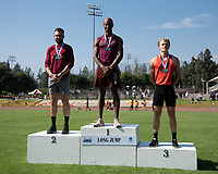 At right, Eric Looby '21 3rd place in the long jump<br /> The Occidental College men's and women's track and field teams compete in the 2019 Southern California Intercollegiate Athletic Conference (SCIAC) Track and Field Championships at the Claremont-Mudd-Scripps Burns Track Complex in Claremont, Calif. on Saturday, April 27, 2019.<br /> After the two-day SCIAC Championships CMS scored 211.50 points, followed by Pomona-Pitzer (171.50), Redlands (114), Occidental (92.50), Whittier (57.50), La Verne (54), Cal Lutheran (48), Chapman (23) and Caltech (4). <br /> <br /> (Photo by Eddie Ruvalcaba, Image of Sport)