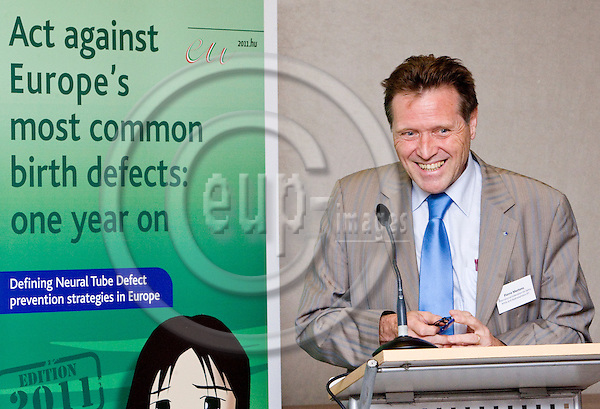 "BRUSSELS  -  BELGIUM  - 29 JUNE 2011 --  IF  and Bayer HealthCare Pharmaceuticals launch event of the report ""Act against Europe's most common birth defects: one year on"" at Radisson Blu EU Hotel. -- Pierre Mertens, President of the International Federation for Spina Bifida and Hydrocephalus (IF)). --  PHOTO: Juha ROININEN /  EUP-IMAGES"
