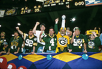 Packers fans celebrate the team's first Super Bowl win in 29 years as the Green Bay Packers defeated the New England Patriots 35-21 at the Superdome in New Orleans on January 26, 1997.