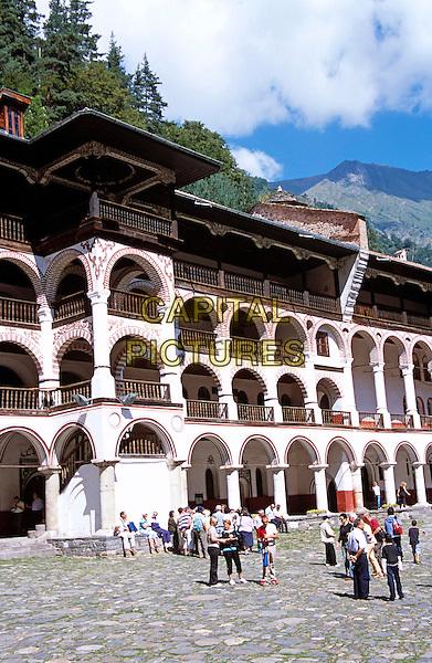 Monastic cells, balconies and courtyard, Rila Monastery, Bulgaria