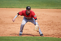 Birmingham Barons first baseman Danny Hayes (9) during a game against the Biloxi Shuckers on May 24, 2015 at Joe Davis Stadium in Huntsville, Alabama.  Birmingham defeated Biloxi 6-4 as the Shuckers are playing all games on the road, or neutral sites like their former home in Huntsville, until the teams new stadium is completed.  (Mike Janes/Four Seam Images)