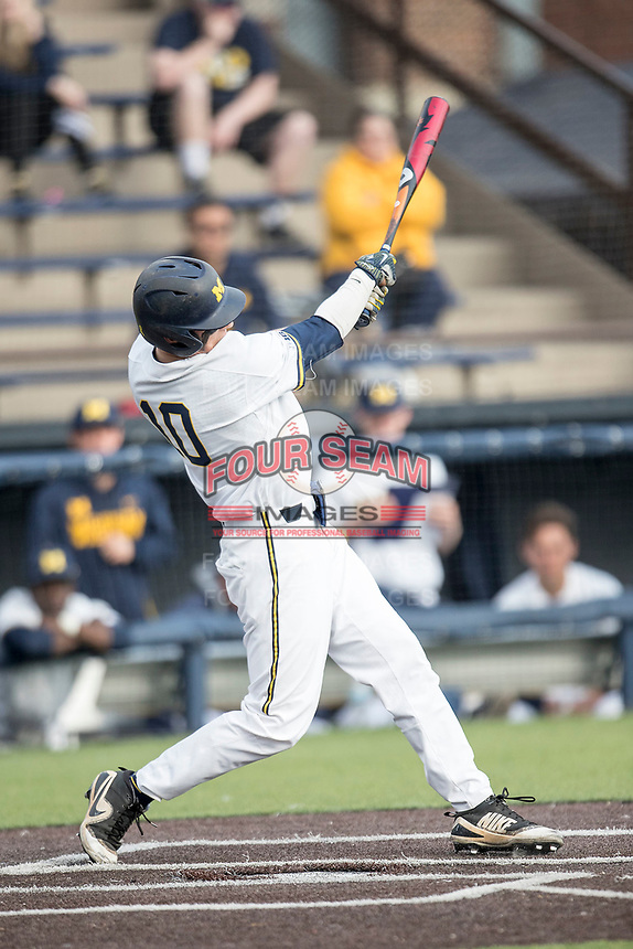 Michigan Wolverines third baseman Blake Nelson (10) swings the bat against the Maryland Terrapins on April 13, 2018 in a Big Ten NCAA baseball game at Ray Fisher Stadium in Ann Arbor, Michigan. Michigan defeated Maryland 10-4. (Andrew Woolley/Four Seam Images)