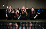 St. Norbert College women's tennis team seniors Anna Gosz, left, Ashley Randazzo, Elizabeth Manlick and Katherine Ake at Four Season Tennis Club in De Pere, Wis., on April 26, 2017.