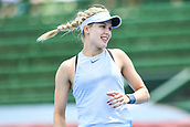 11th January 2018,  Kooyong Lawn Tennis Club, Kooyong, Melbourne, Australia; Priceline Pharmacy Kooyong Classic tennis tournament; Eugenie Bouchard of Canada shows off a smile after winning a point against Destanee Aiava of Australia